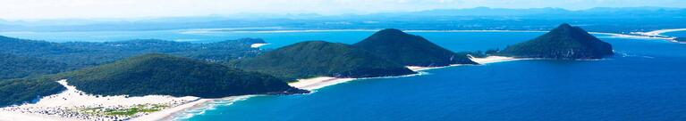 Aerial view over Port Stephens coastline